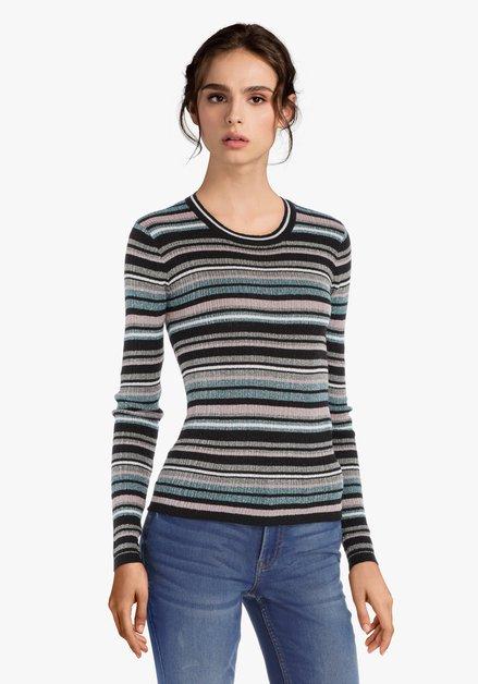 Groen-zwart gestreepte trui met lurex