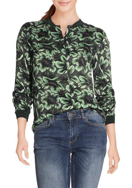 Groene bloes met bladerprint in viscose