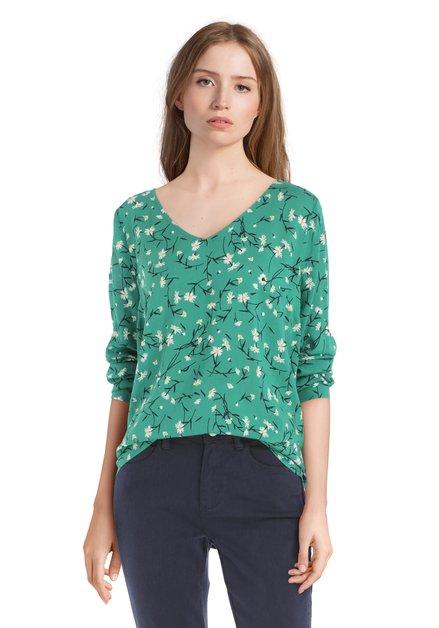 Groene blouse met bloemen en lange mouwen