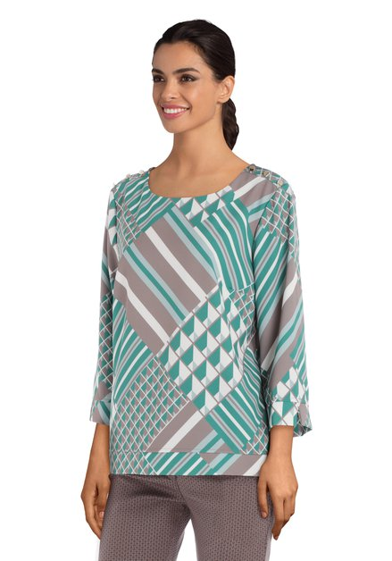 Groene blouse met geometrisch motief