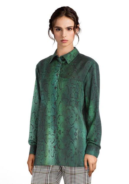 Groene blouse met slangenprint