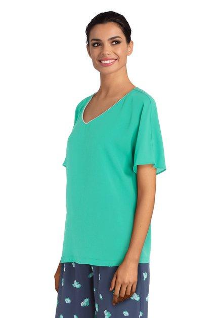 Groene blouse met V-hals en lurex