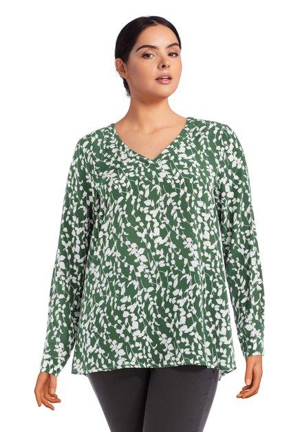 Groene blouse met witte blaadjes print