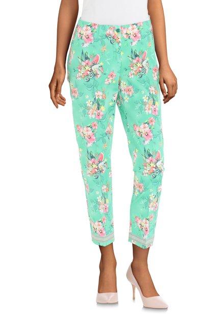 Groene broek met roze bloemen