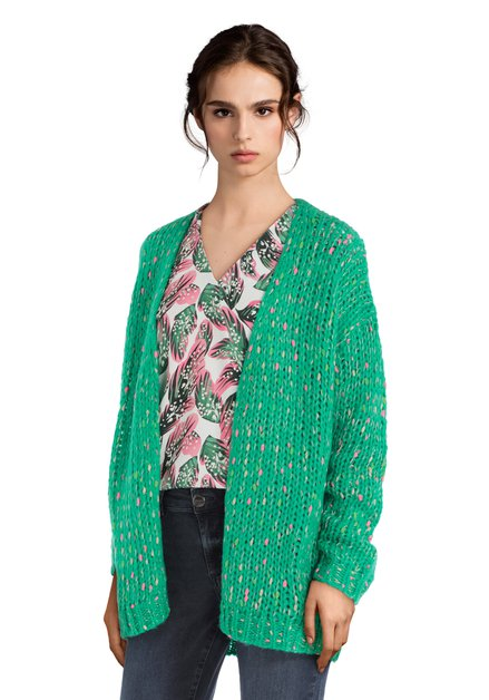 Groene cardigan met kleurrijke vlekjes