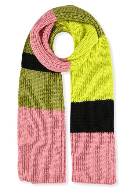 Groene en roze gebreide sjaal