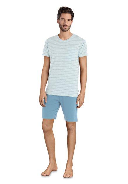 Groene gestreepte pyjama - korte mouwen/broek