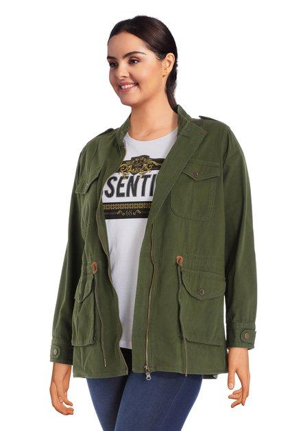 Groene jas met aantrekkoord