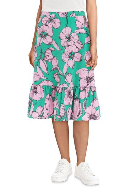 Groene rok met roze bloemen
