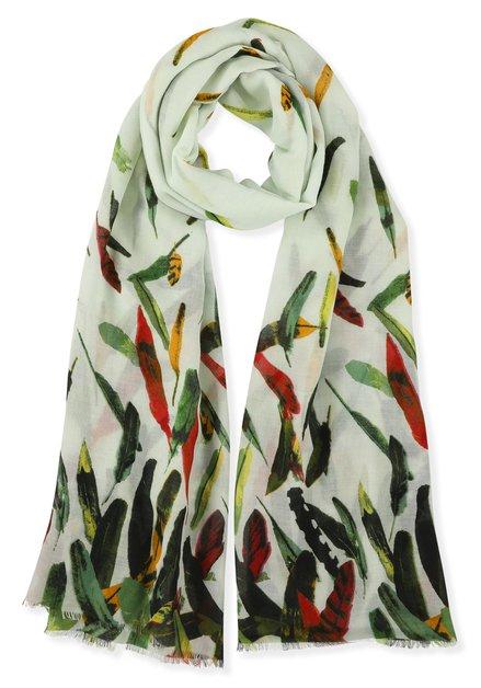 Groene sjaal met bladerenprint