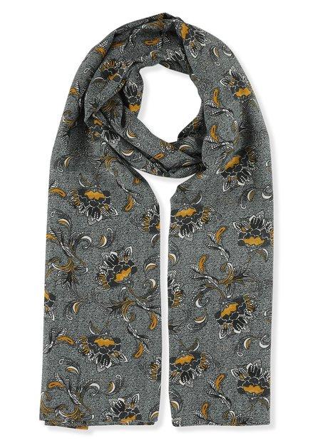 Groene sjaal met oosterse bloemenprint