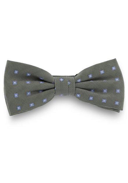 Groene zijden strikdas met blauwe vierkantjes