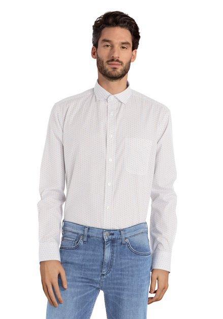 Hemd met blauw-geel motief - Corneel – comfort fit