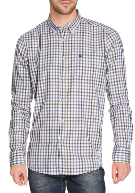 Hemd met blauwe-kaki ruitjes - modern fit