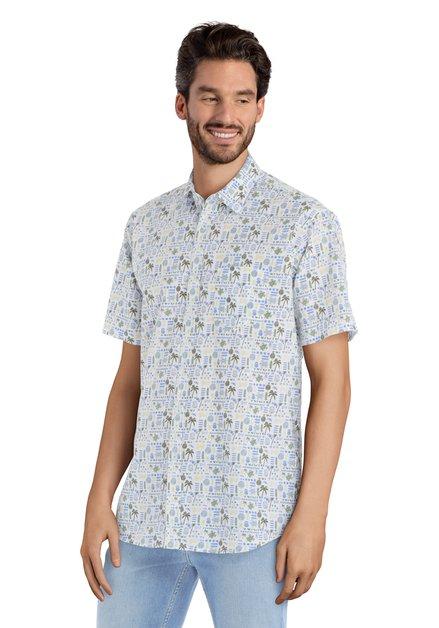 Hemd met blauwe tropische print – regular fit