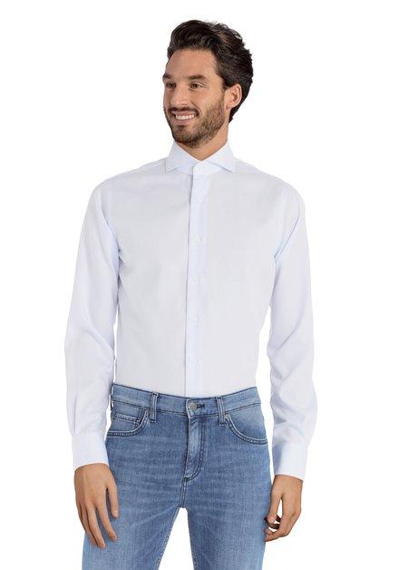 Hemd met fijne blauwe stipjes – slim fit