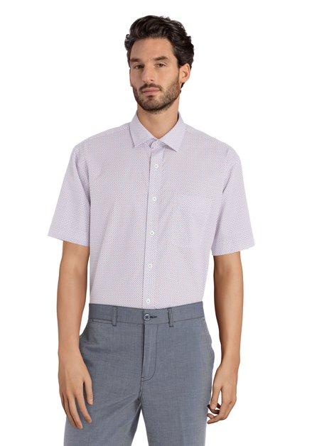 Hemd met rood-blauw motief - Corneel – comfort fit