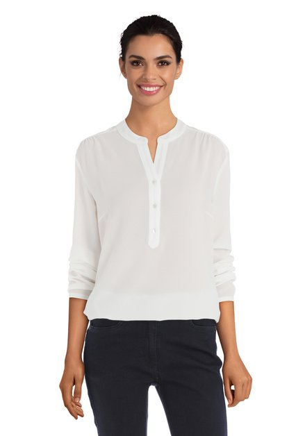 Ivoorkleurige blouse met lange mouwen