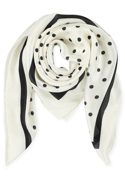Ivoorkleurige foulard met zwarte polkadots