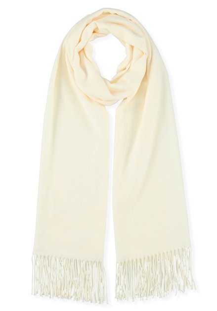 Ivoorkleurige sjaal met kasjmierwol