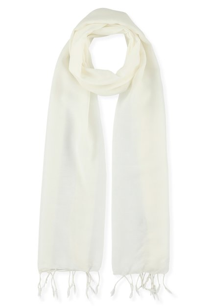 Ivoorwitte sjaal met franjes
