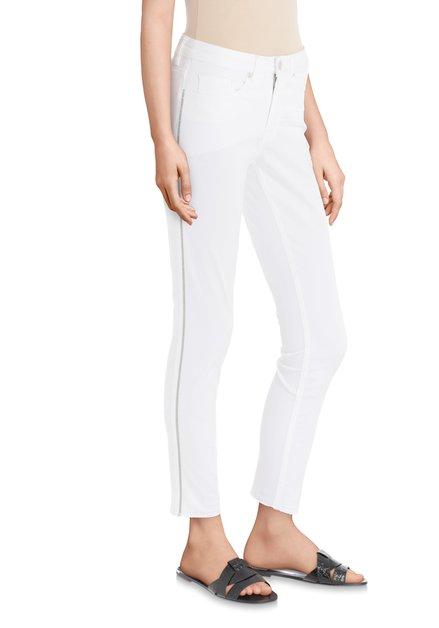 Jean 7/8 blanc avec galon à paillettes – slim fit