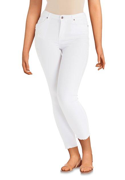 Jean blanc avec fleur brodée – skinny fit