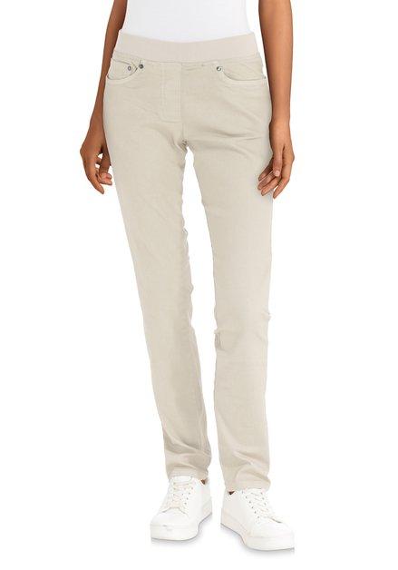 Jeans beige à taille élastiquée - straight fit