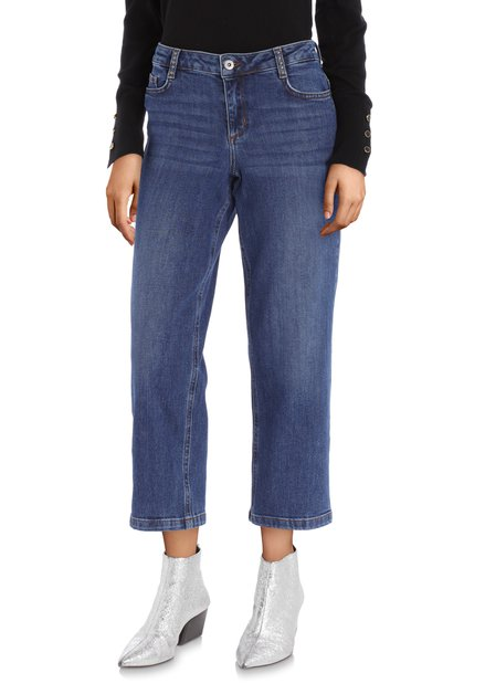 Jeans court bleu moyen – straight fit