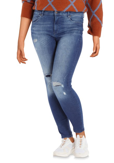 Jeans déchiré bleu foncé délavé - skinny fit