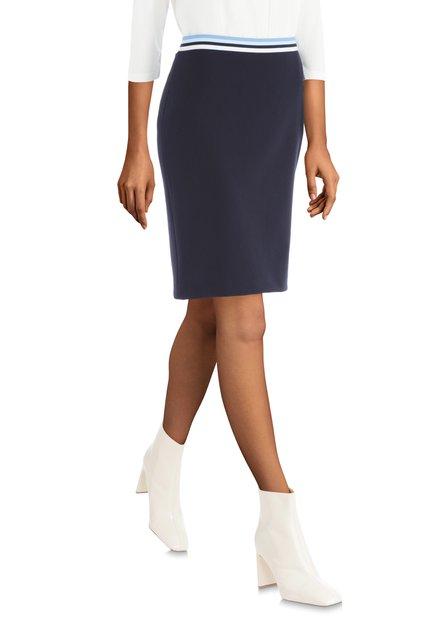 Jupe bleu foncé avec taille élastiquée à rayures