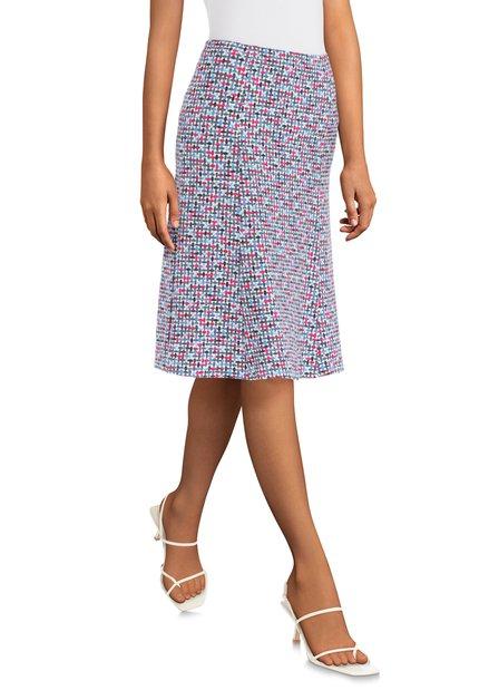 Jupe bleue à imprimé abstrait et coloré
