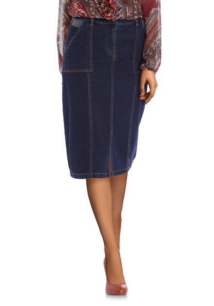Jupe en jeans bleu foncé en tissu extensible