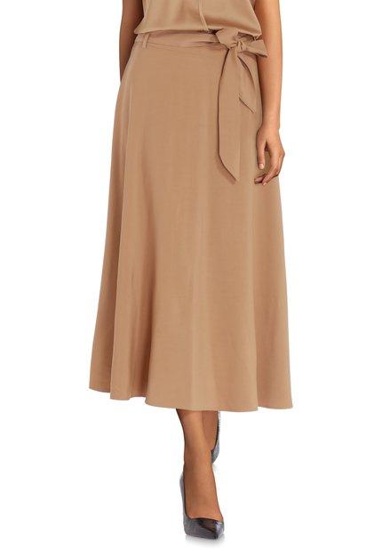 Jupe longue brun sable avec ruban