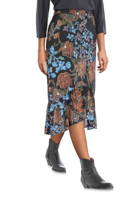 Jupe noire longue à motif fleuri