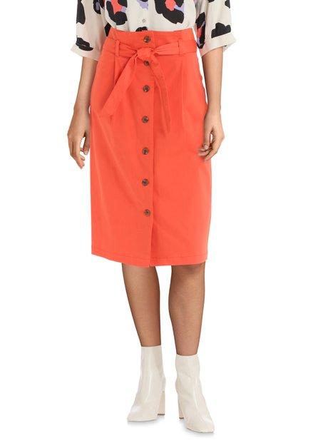 Jupe orange avec ceinture et boutons