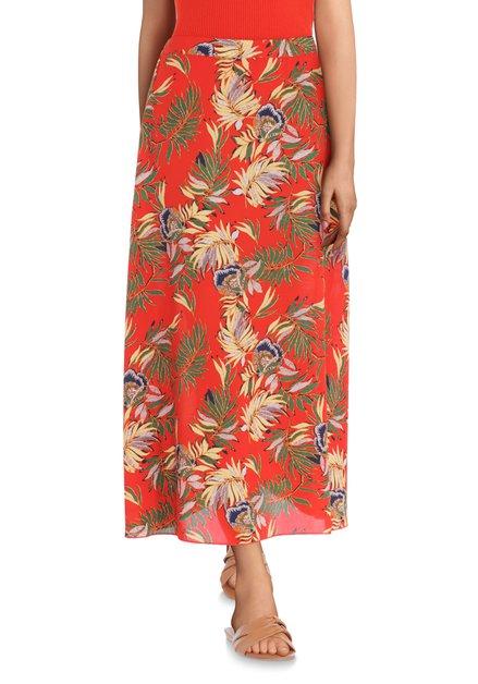 Jupe rouge avec imprimé tropical