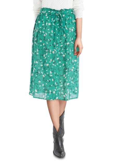Jupe verte à fleurs avec ceinture en tissu