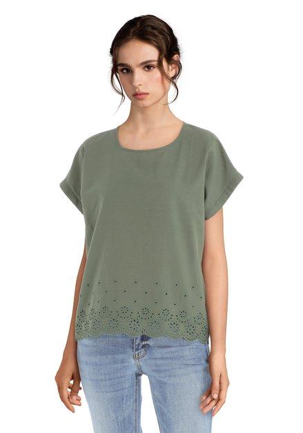 Kaki blouse met bloemen in broderie anglaise