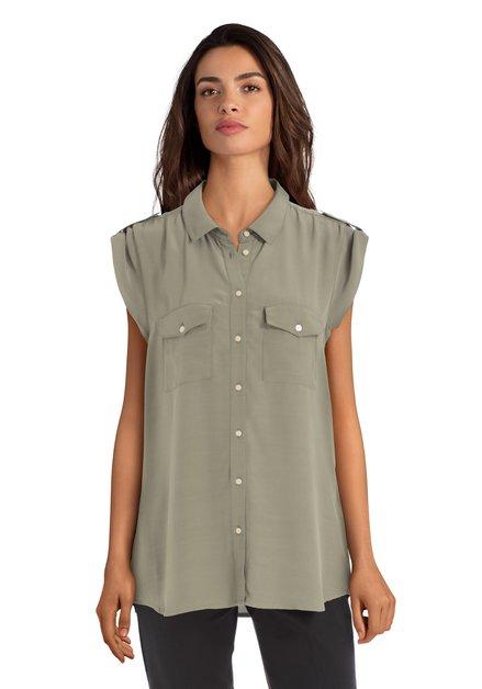 Kaki blouse zonder mouwen