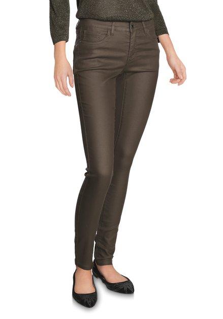 Kaki broek met coating - slim fit