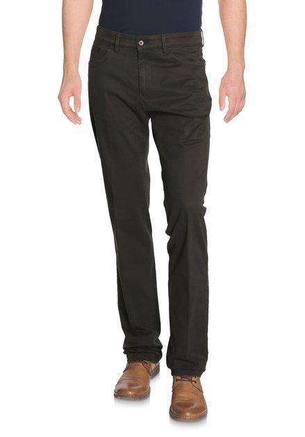 Kaki broek met miniprint - Detroit - regular fit