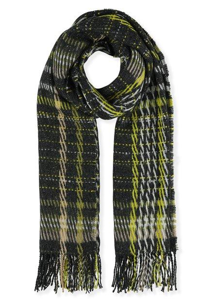 Kaki en groene gebreide sjaal