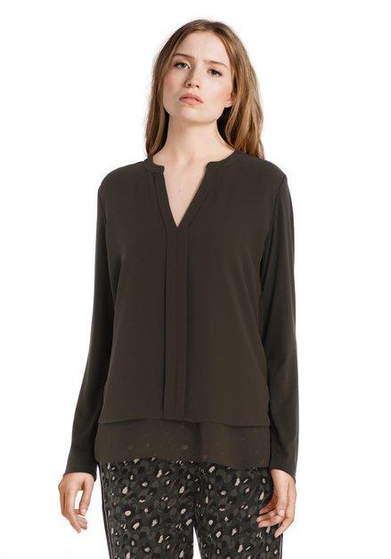 Kaki gelaagde blouse met V-hals