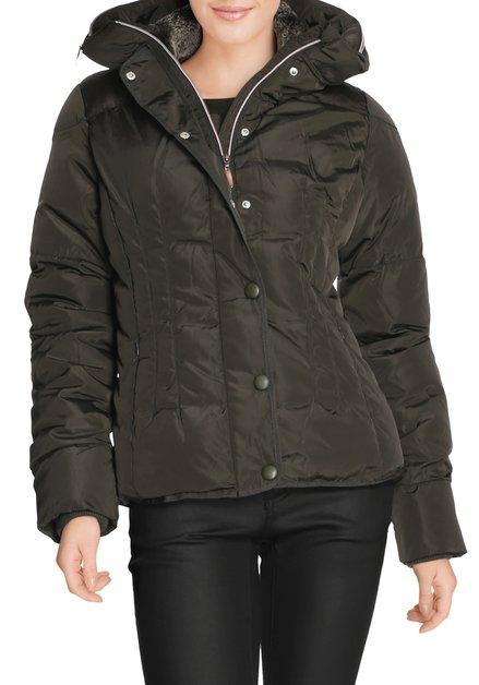 Kaki gematelasseerde jas met kap