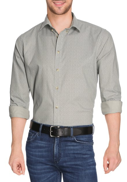 Kaki hemd met blauwe veertjes - slender fit