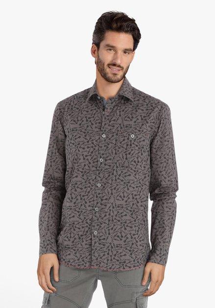 Kaki hemd met print – regular fit
