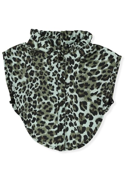 Kaki hemdkraagje met leopardprint