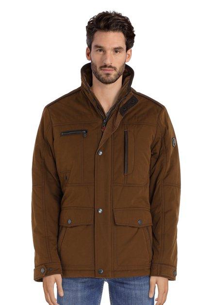 Kaki jas met geribde fluwelen kraag