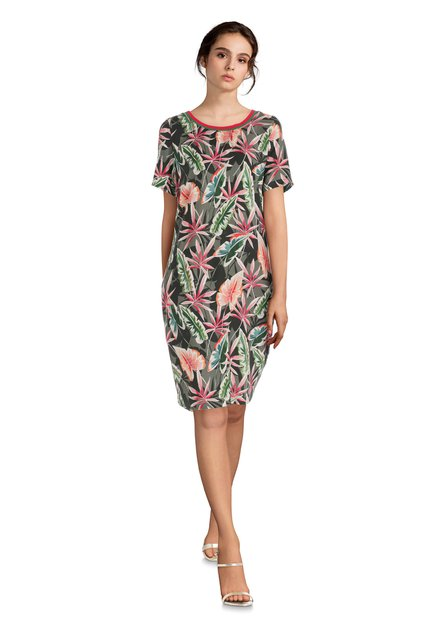 Kaki jurk met kleurrijke bladerprint